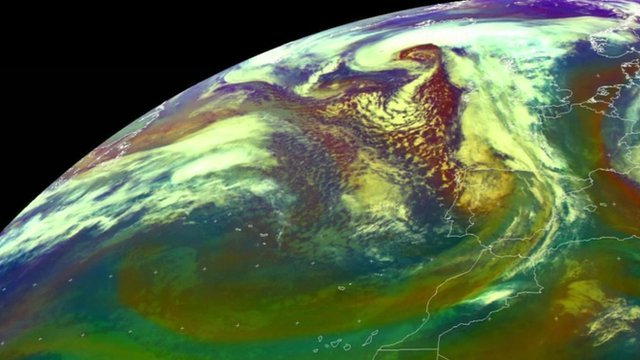 Satellite image of storms over UK