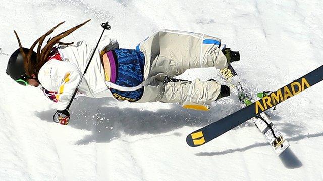 Sweden's Henrik Harlaut falls in the men's ski slopestyle qualification