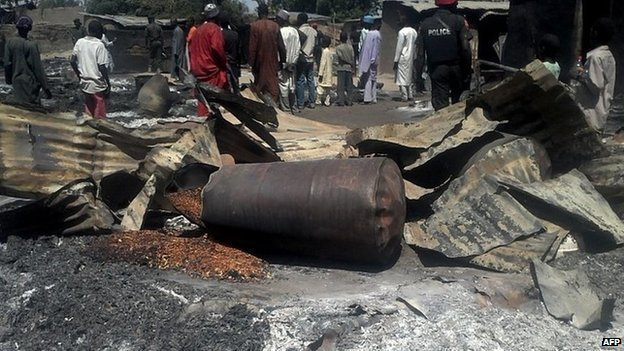 Destruction after the attack in Konduga