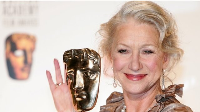 Helen Mirren receiving her Bafta for The Queen in 2007