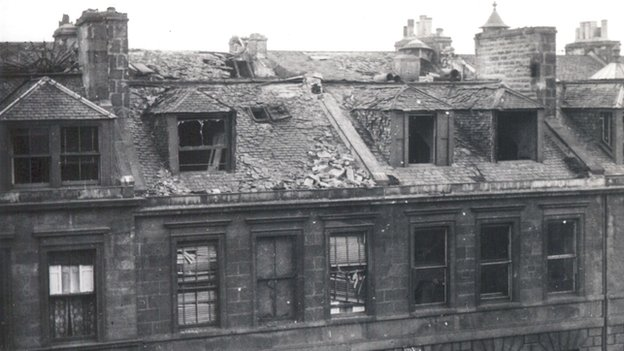 The bomb caused considerable damage to tenements around Edinburgh
