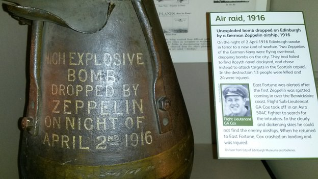The unexploded bomb dropped by the zeppelin is now on display at the Museum of Flight in East Lothian