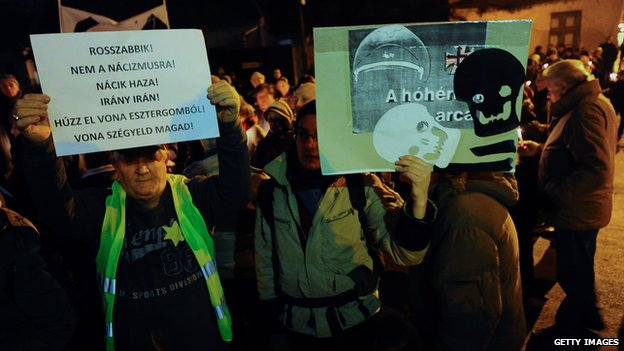 Anti-Jobbik protest in Esztergom (14 February 2014)