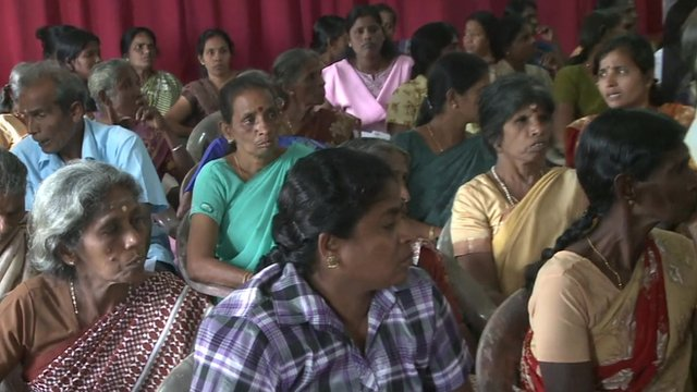 People waiting to testify in Jaffna