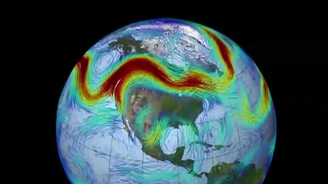The current of fast-flowing air in red and green is known as a jet stream