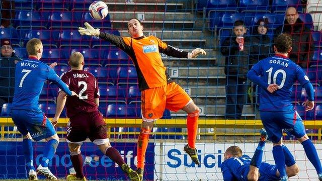 Jamie MacDonald saves for Hearts