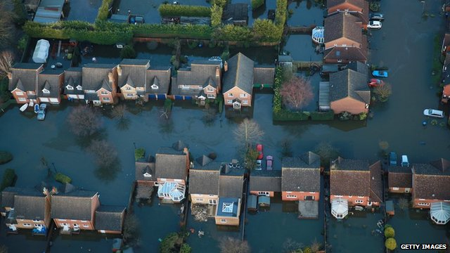 Houses in Staines-upon-Thames are inundated with flood water