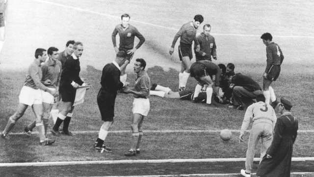 Chile and Italy clash during the 1962 World Cup, later dubbed the 'Battle of Santiago'