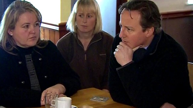 David Cameron meeting people in a pub in Longford on the outskirts of Gloucester