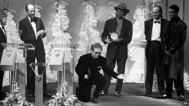 Noel Edmonds, Norman Tebbit, Elton John and Wham!