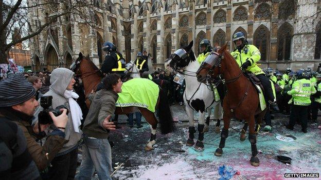 Police horses during student protest in London