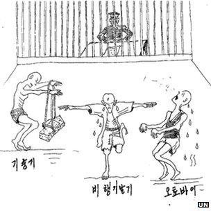 Drawing submitted by former North Korea prisoner Mr Kim Kwang-il show different forms of torture