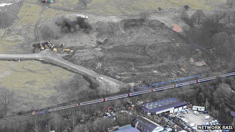 Aerial image of the landslip