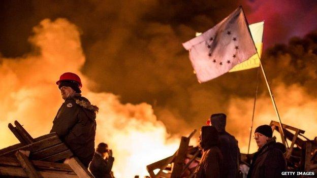 Anti-government protesters in Kiev. Photo: 19 February 2014