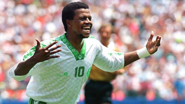 Saeed Al-Owairan celebrates after scoring for Saudi Arabia against Belgium