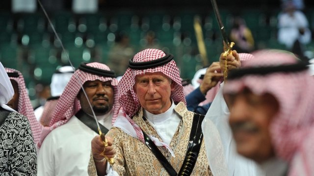 Prince Charles performs traditional Saudi sword dance