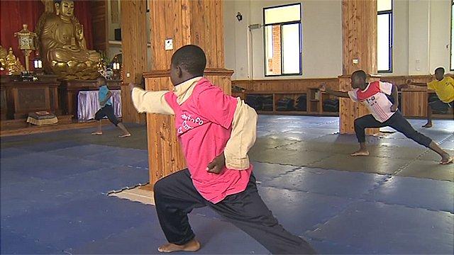 Children practising kung fu