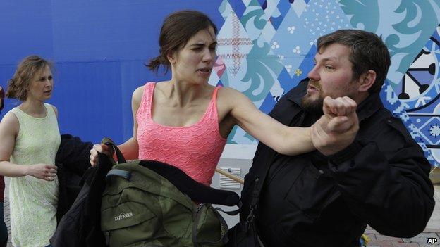Nadezhda Tolokonnikova being attacked by a Cossack