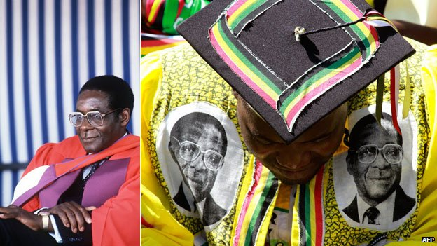 Left: Robert Mugabe in March 1984 after being awarded the Doctor Honoris Causa at the University of Harare Right: A supporter of Robert Mugabe attends his inauguration after presidential elections in Harare, Thursda, 22 August 2013