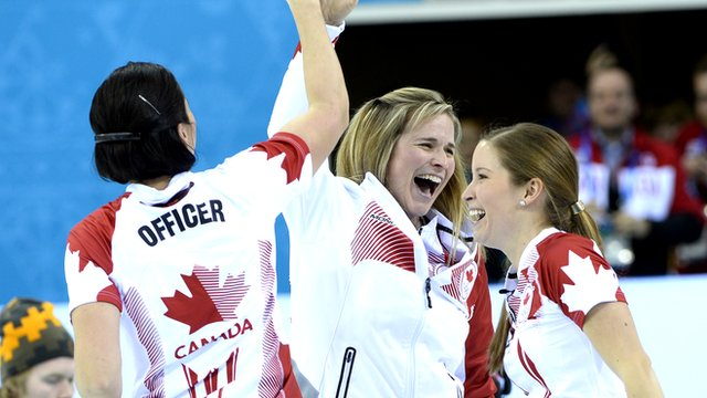 The Canadian curling team led by Jennifer Jones beat Sweden 6-4 to claim curling gold at Sochi 2014.
