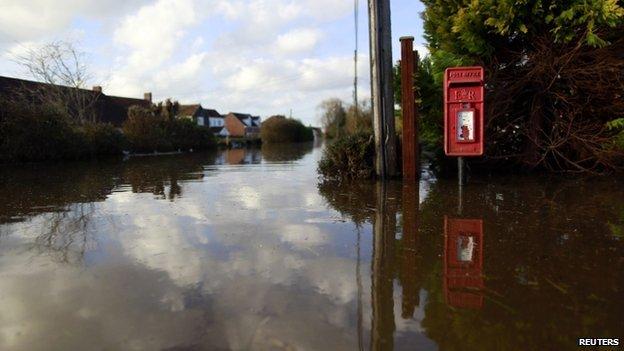 Urban landscape taken in the flooded Somerset village of Moorland