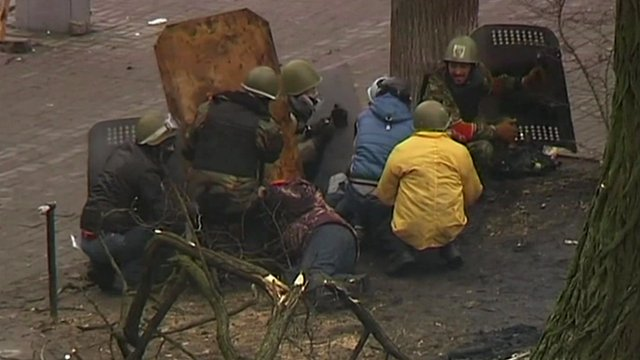 Protesters under fire in Kiev