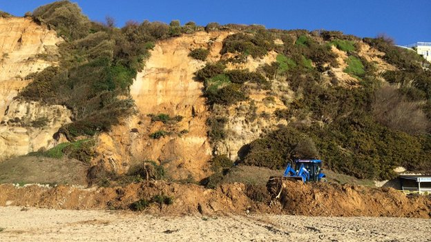 Landslip on beach between Boscombe and Bournemouth Piers