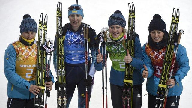 Ukraine women's biathlon team