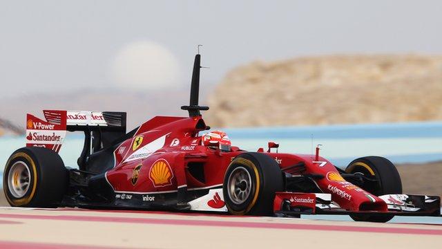 Ferrari's Kimi Raikkonen tests in Bahrain