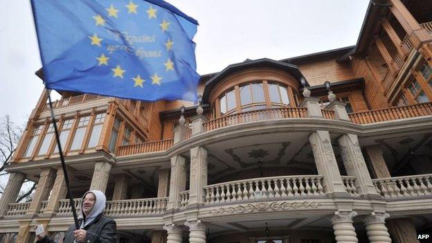 "A man holding a European Union flag poses in front of the main building of Ukrainian President Viktor Yanukovych""s residency near Kiev"
