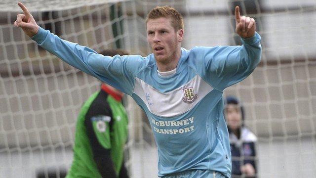 Darren Boyce celebrates his goal against Warrenpoint