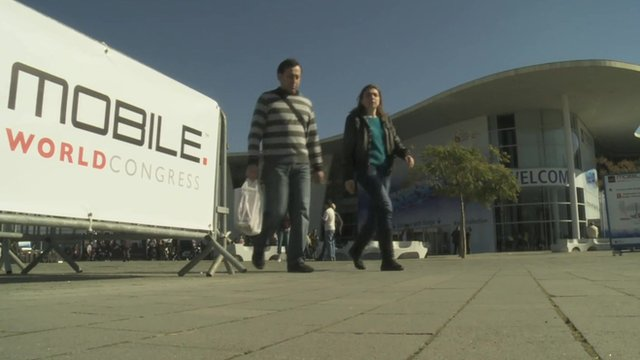 Visitors at the Mobile World Congress