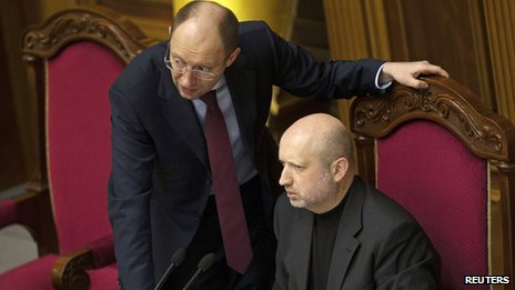 Prime Minister Arseniy Yatsenyuk and the new acting President, Oleksandr Turchynov