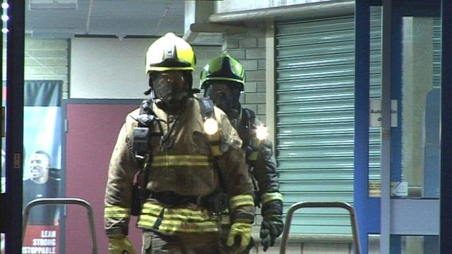 Firefighters leaving Penarth Leisure Centre