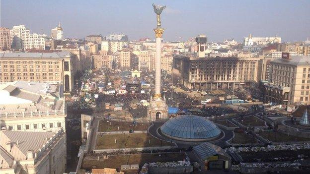 Independence Square, Kiev, Ukraine (24 Feb 2014)