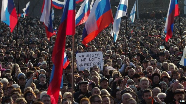 Thousands of pro-Russian protesters joined a rally in Sevastopol on Sunday, denouncing events in Kiev