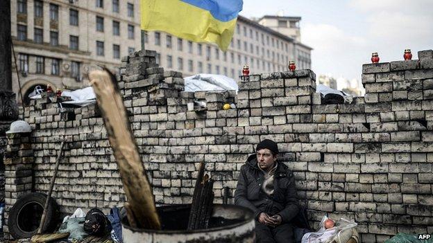 Barricade in Kiev. 24 Feb 2014