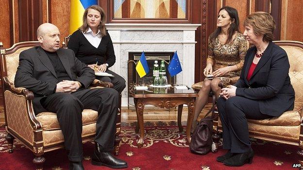 Interim President Olexander Turchynov meets EU foreign policy chief Catherine Ashton in Kiev. 24 Feb 2014