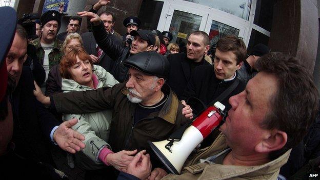Pro-Russian activists in Sevastapol, Crimea. 24 Feb 2014