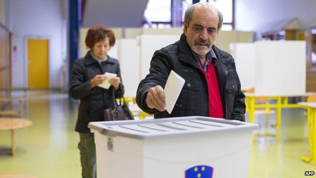 Voters in Slovenia - file pic