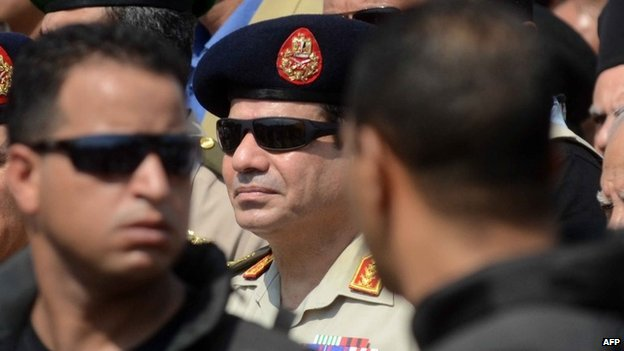 Abdul Fattah al-Sisi at a military funeral in Giza, Cairo (20 September 2013)