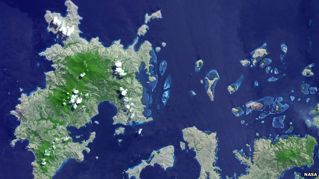 Satellite image of the island of Komodo in the east of the Indonesian archipelago