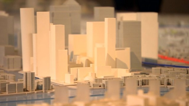 Tower models in planning map of London
