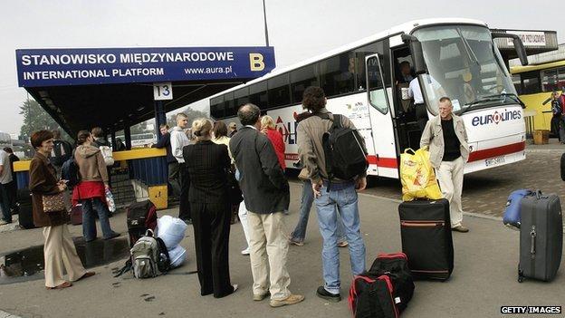 Polish workers at Warsaw bus garage - file pic