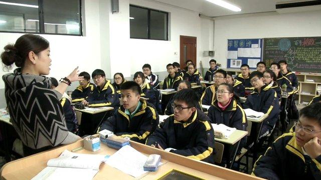 Pupils and teacher in Shanghai classroom