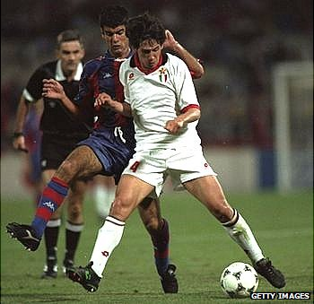Demetrio Albertini (white shirt) of AC Milan in action during the 1994 Champions League final