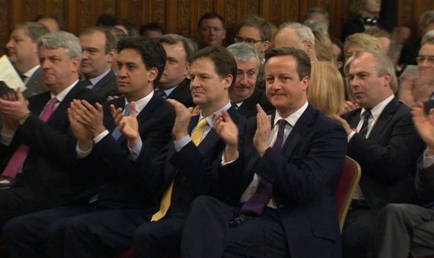 David Cameron with Ed Miliband and Nick Clegg