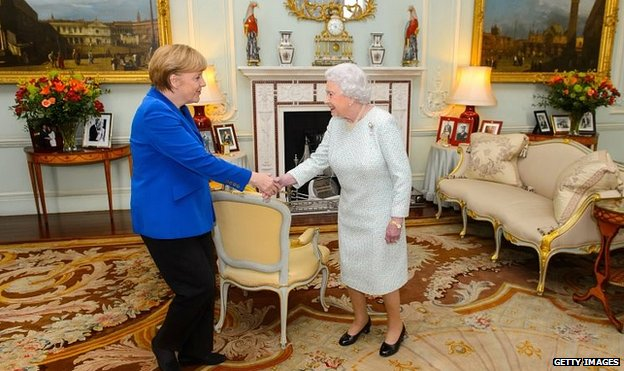 The Queen, right, welcomes Angela Merkel to Buckingham Palace