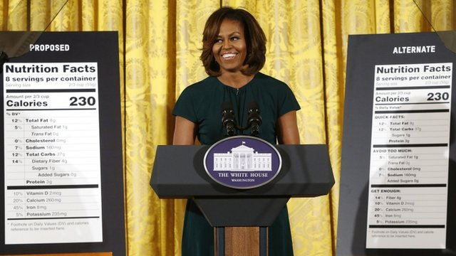 US First Lady Michelle Obama unveils proposed updates to nutrition facts labels during remarks in the East Room of the White House in Washington DC on 27 February 2014