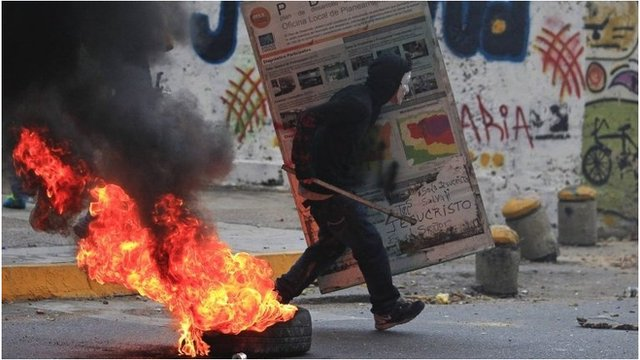 Anti-government protester in Caracas, Venezuela